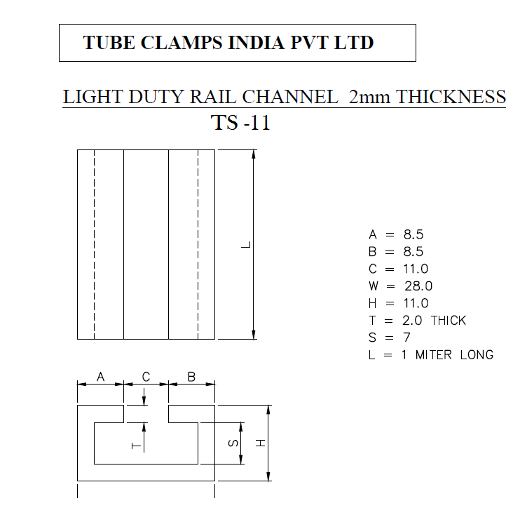 Dimensions Schedule of TS 11 Rail Channel